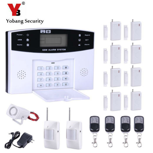 YobangSecurity LCD Screen 433MHz Remote Control Home Security System GSM Alarm System Wireless PIR Door Window Sensor Wire Siren home security door window siren magnetic sensor alarm warning system wireless remote control door detector burglar alarm