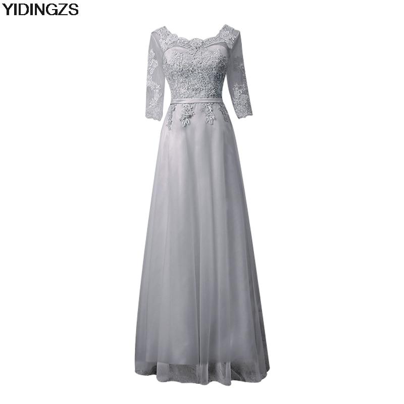 Robe De Soriee New Simple Wedding Dress Full Sleeve Lace: YIDINGZS Elegant Gray Lace Long Evening Dresses Half
