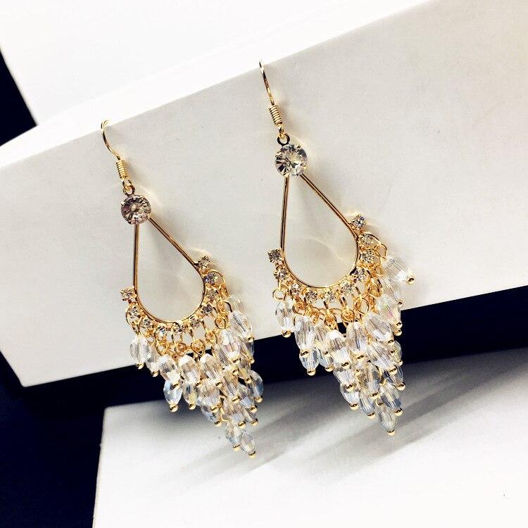 Ny Erklæring Crystal Perler Lange Øreringe For Kvinder Bijoux - Mode smykker - Foto 6