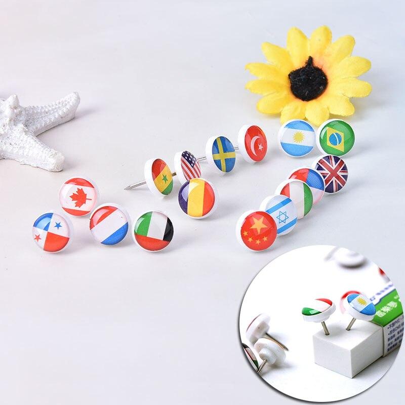 16pcs/box Map Tacks National Flag Glue Push Pins Office Notice Board Thumb Tack Mix Color DIY Decoration