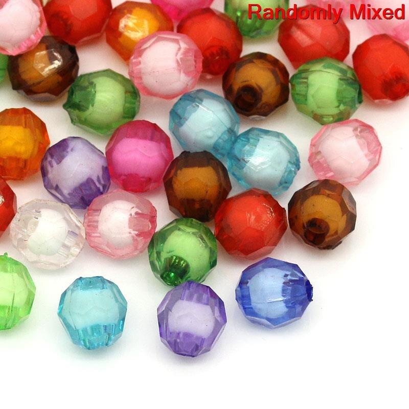 100 x Mixte Couleur Acrylique Transparent à Facettes Perles Rondes Jewelry Making 10x10mm