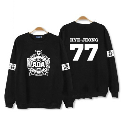 Aoa ace of angel heart attack member name printing thin sweatshirts for kpop fans suppor ...