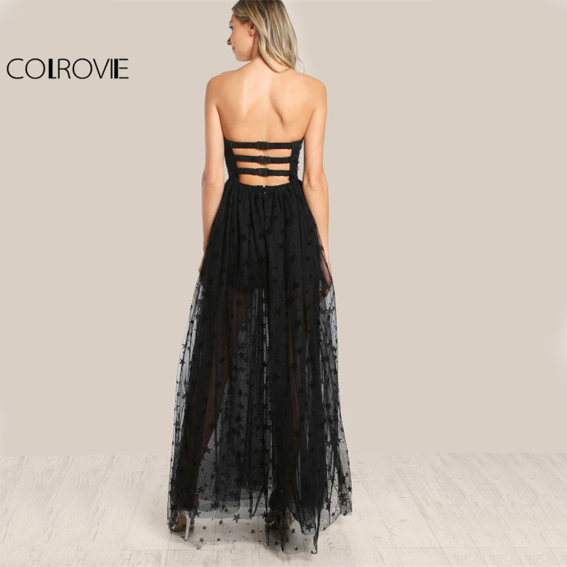 36c70886c12 COLROVIE Black Sexy Bustier Party Dress Star Flock Cute Women Mesh Overlay  Maxi Summer Dress Strapless Sheer Cut Out Dress-in Dresses from Women s  Clothing ...