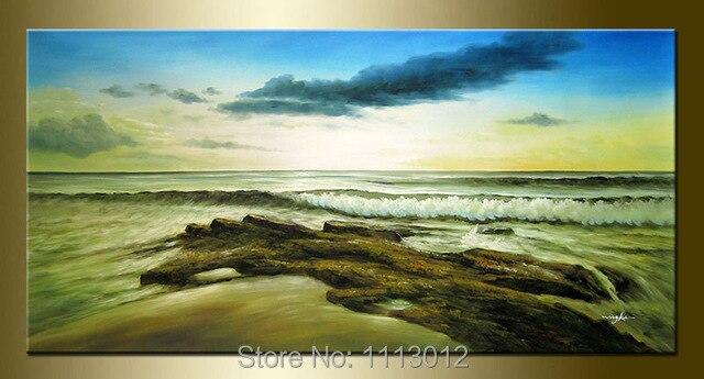 hand painted modern home decor sandy beach waves seascape oil