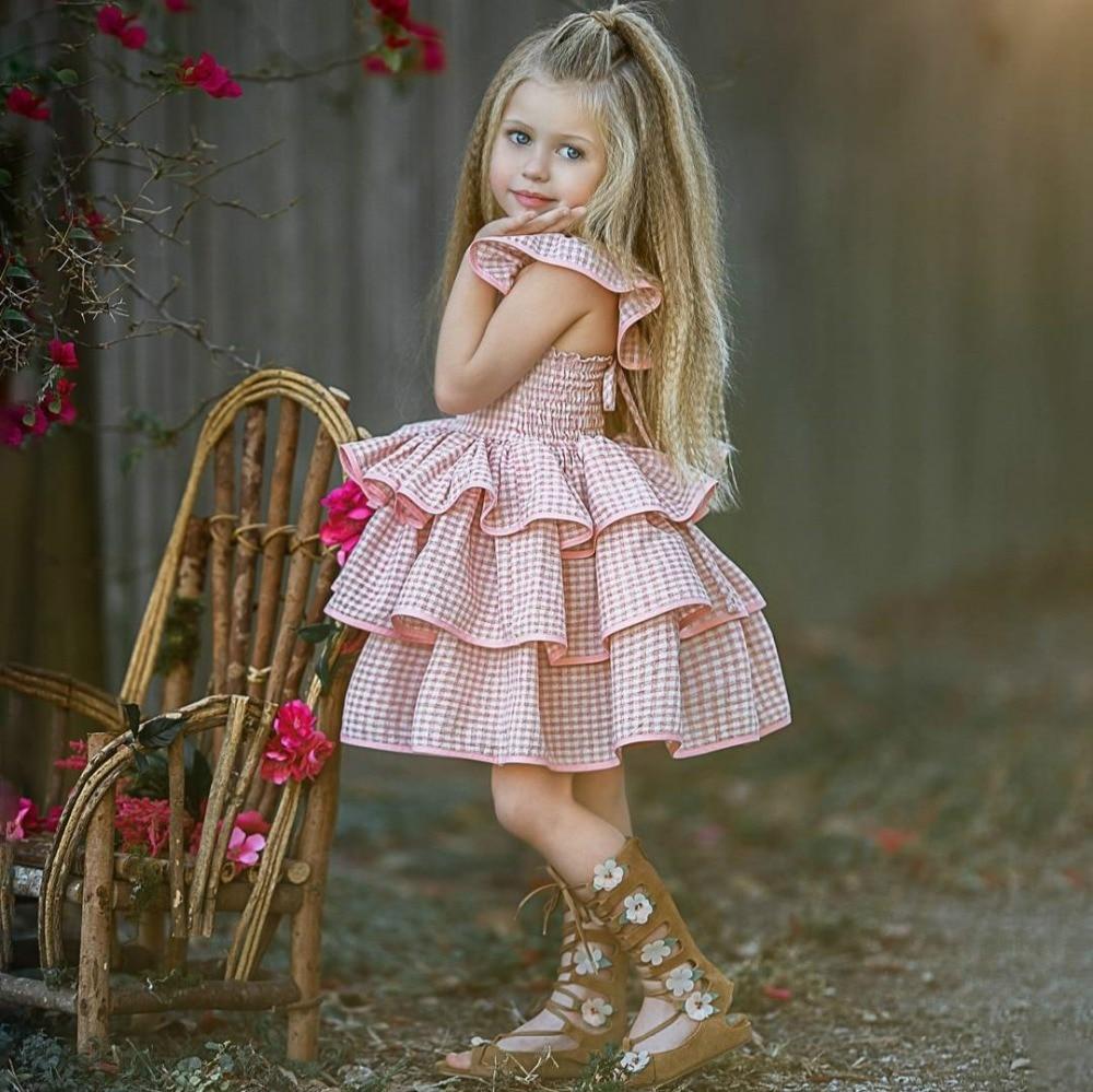 1-6y Kleinkind Kinder Baby Mädchen Rüschen Tutu Kleid Sommerkleid Sommer Party Pageant Layered Prinzessin Kleid Kinder Baby Mädchen Kleidung