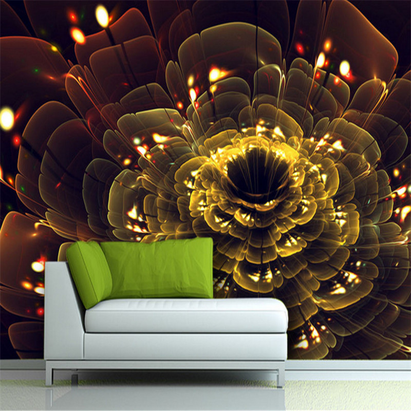 custom 3d photo high quality non-woven wallpaper mural 3d gold flowers upscale background wall home decor for study room high quality diy romantic flowers pattern wall stickers for home decor