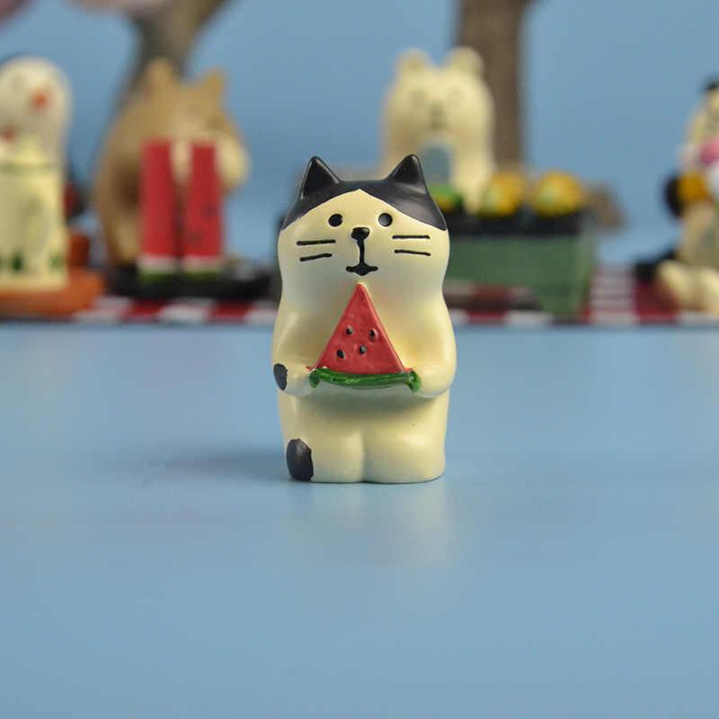 Japonês kawaii dos desenhos animados do gato de chita pinguim branco urso panda vão fazer um piquenique em miniatura figura Sakura toco de árvore gramado piscina brinquedo móveis