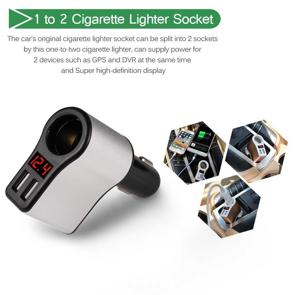 Dual USB Car Cigarette Lighter Socket Splitter Plug 5V 3.1A Car Charger Adapter Voltage Monitor Power Adapter for Smart Phone