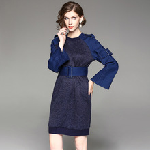 Europe 2018 Spring Autumn Women's Fashion Sashes Belt Jeans Knitted Patchwork Personality O-Neck Dress Female Flare Sleeve Dress