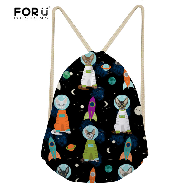 3c9ebdf92904 FORUDESIGNS Women Sport Bags Space Cats Printed Small Children Drawstring  Bag Women's Backpack Outdoor Gym Sack Fitness Softback