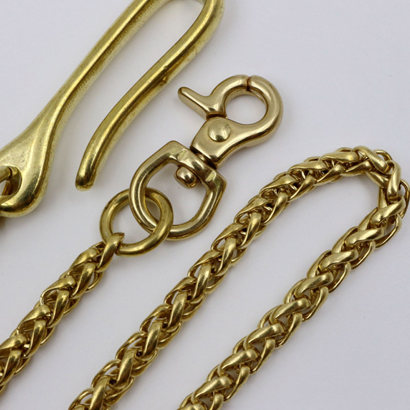 1Pc Fashion Solid Brass Trousers Jeans Wallet Chain For Men Belt Pants Keychain Metal Buckle Clips Snap Hook DIY Accessories