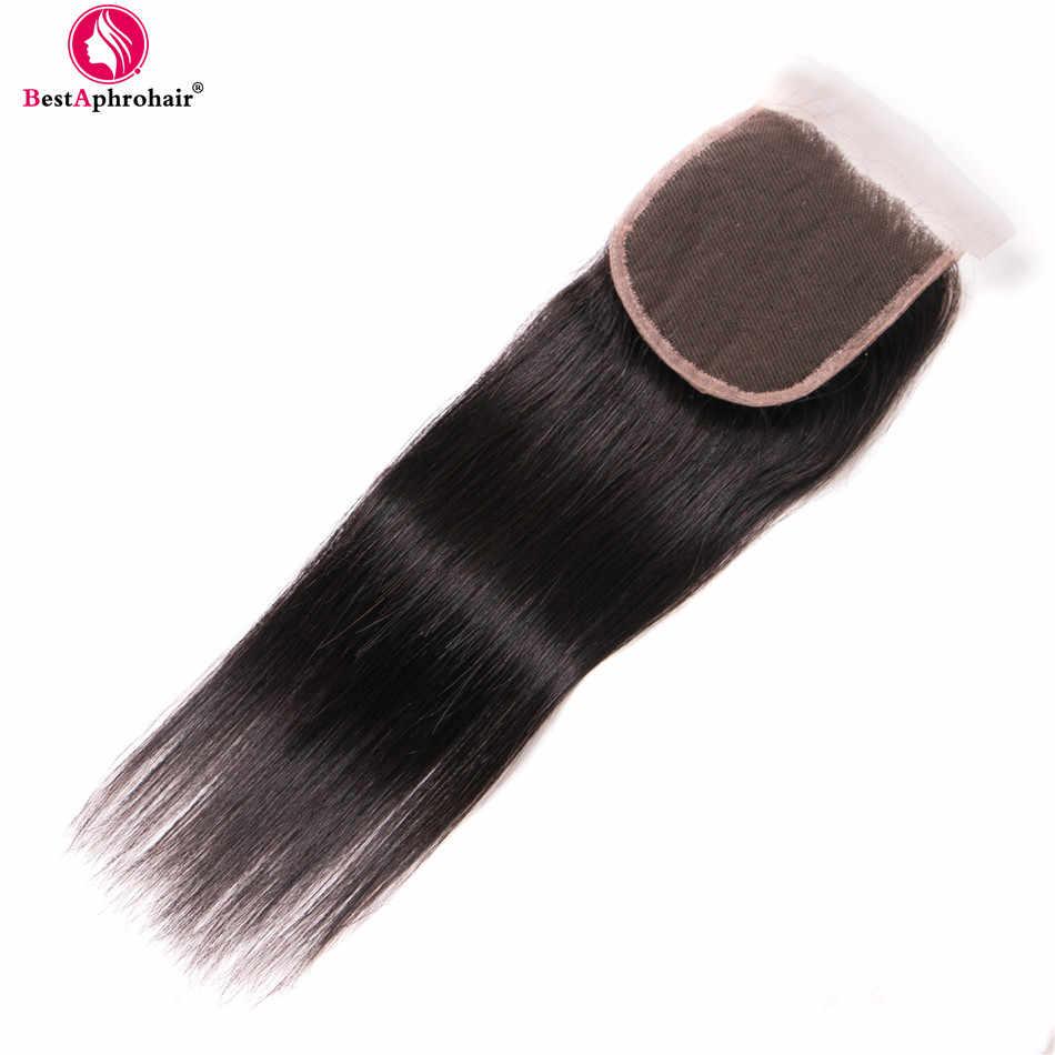 Aphro Brazilian Straight Hair Bundles With Closure Non Remy Brazilian Human Hair Weave 3 Bundles With Closure Free/Middle Part