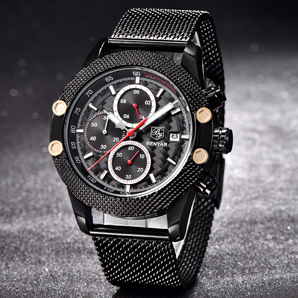Top Brand BENYAR Mens Watches Fashion Chronograph Sport Military Quartz Business Watch Reloj Hombre Clock men Relogio Masculino