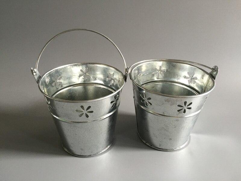 10Pcs/Lot D11*H10CM Silvery Metal Plant Flower Pot Wedding Tub Iron Buckets Wedding buckets Tin Pails SF-052