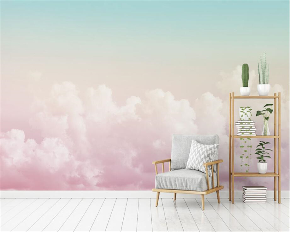 Beibehang Custom Wallpaper Mural Pink Sky Clouds Television Background Wall Papier Peint 3d Wallpaper For Living Room Behang
