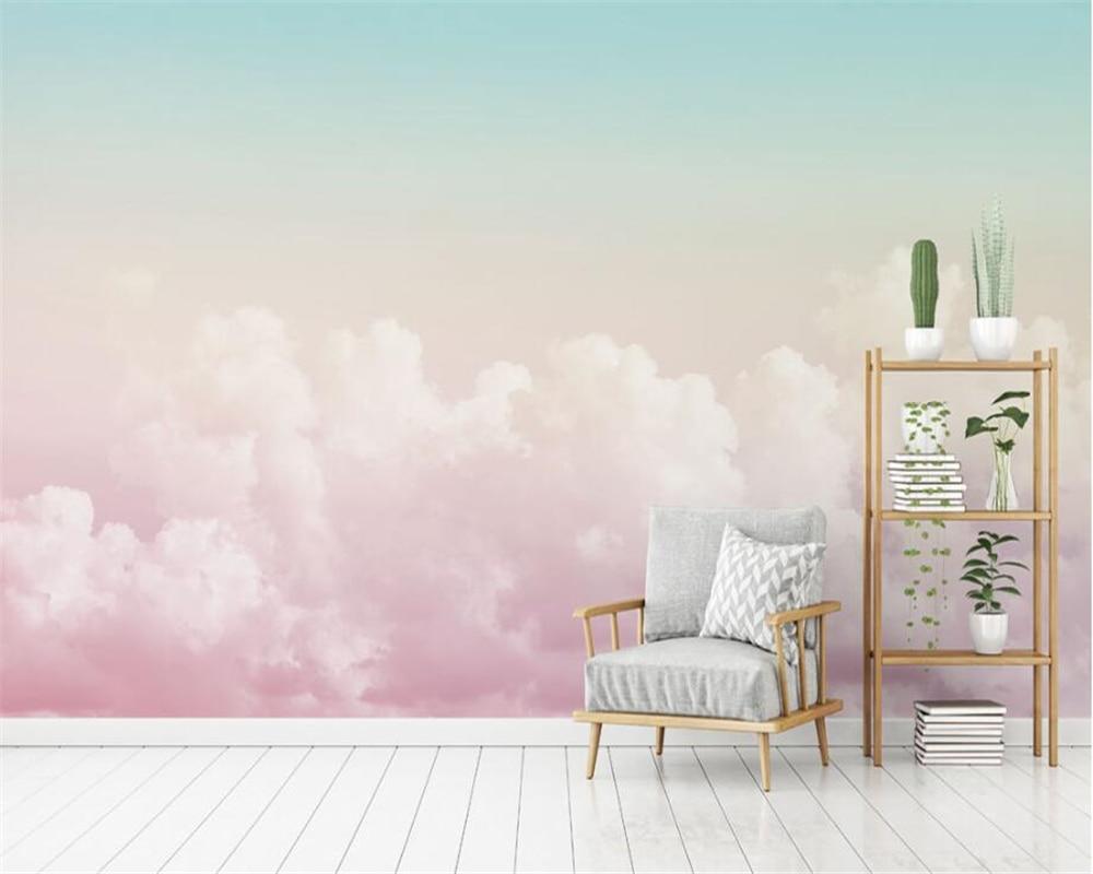 Beibehang Custom Wallpaper Mural Pink Sky Clouds Television Background Wall Papier Peint 3d Wallpaper For Living Room Behang