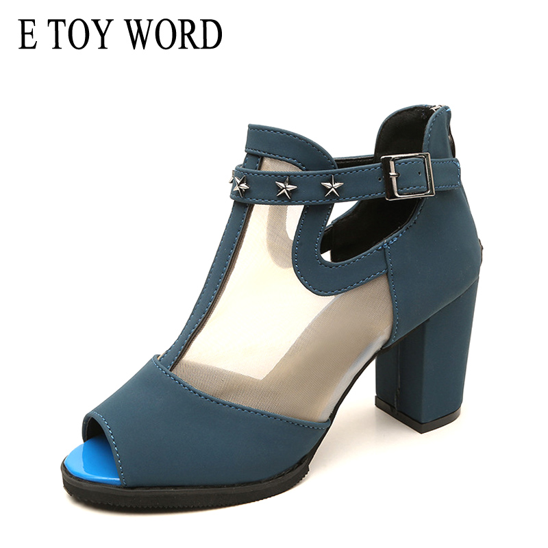 E Toy Word Fish Mouth Womens Sandals Summer 2019 New Ladies High Heel Shoes Thick With Korean Wild Mesh Summer Roman Sandals Last Style Women's Shoes High Heels