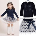 2015 New Christmas Girls Dress Long-Sleeve Winter Dot Dresses Kids Clothes Cotton bow girls clothes elsa baby girl clothes