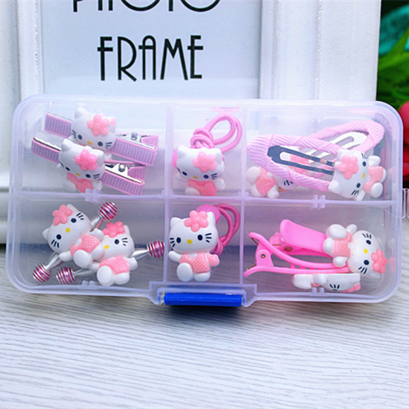 1 gift set hello kitty accessories for baby children girls hair clip hairpin barrette rubber band hairgrip headdress accessories 5 6pcs lot headwear set children accessories ribbon bow hair clip hairpin rabbit ears for girls princess star headdress t2