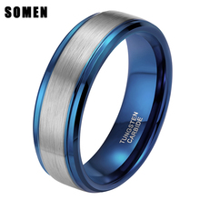 цена на 8MM Blue Mens Ring Wedding Band Pure Tungsten Carbide Engagement Ring For Men Matte Brushed Center Male Jewelry Bague Homme