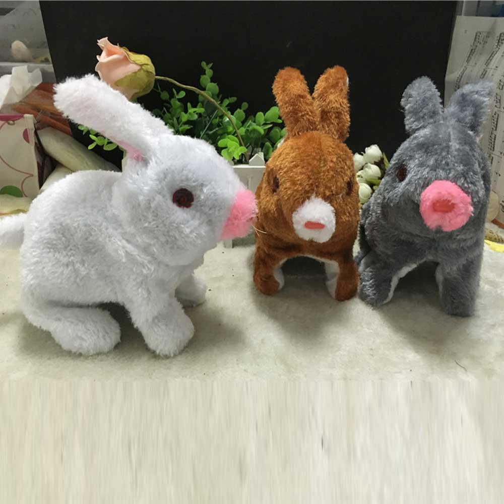 Robot Rabbit Electronic Rabbit Toys Plush Pet Animal Toy Jumping With LED Eyes Cute Toys For Children Birthday Gifts