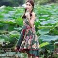 National Style Patchwork Maxi Long Skirt Ladies Elastic High Waisted For Women Spring Summer Femininas Jupe Skirts