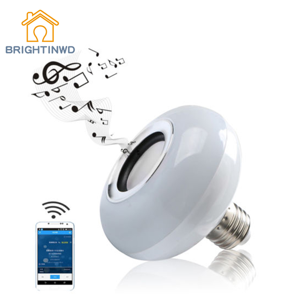 BRIGHTINWD 12W E27 LED RGB Wireless Bluetooth Speaker Bulb Light Music Play Lamp w/ Remote