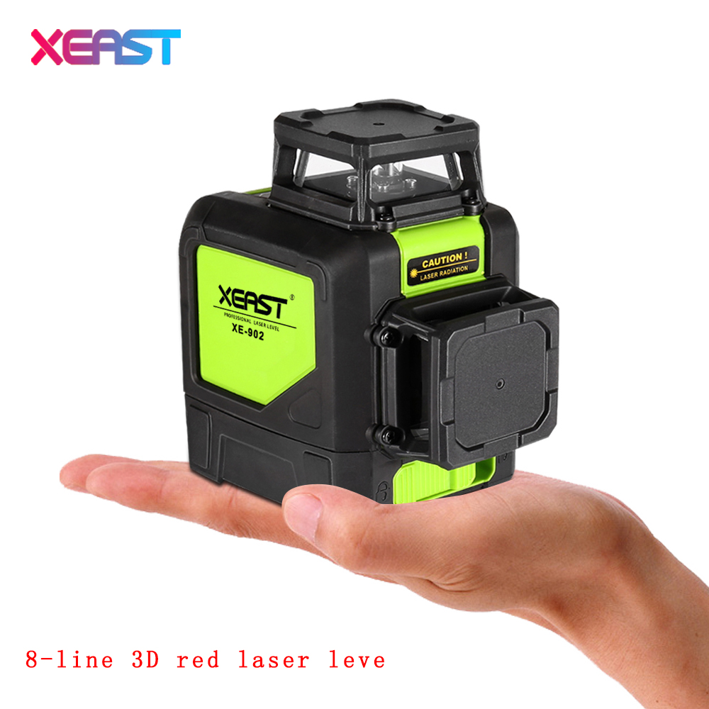 XEAST 8line laser level 3D Laser Level XE-902 360 Vertical And Horizontal Self-leveling Cross Line  Red Beam free shipping highly visible line laser kapro 810 with vertical and horizontal vials