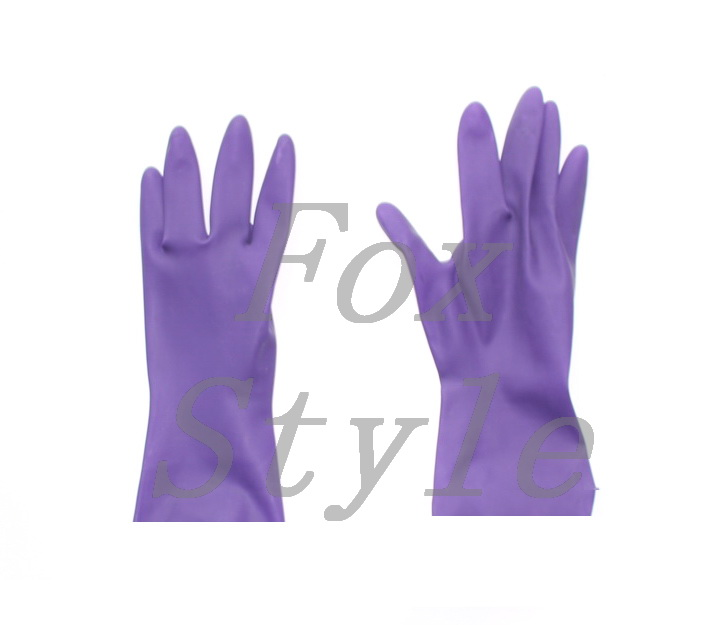 Short Latex Gloves In Purple Color