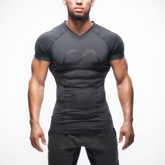 2016 Summer Musikverein bodybuilding V-neck T-shirt men's casual men's short sleeve top shirt high elastic compression