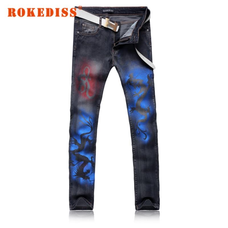 Fake designer clothes Indian dragon Men jeans straight Men s clothing Spring and summer models skinny
