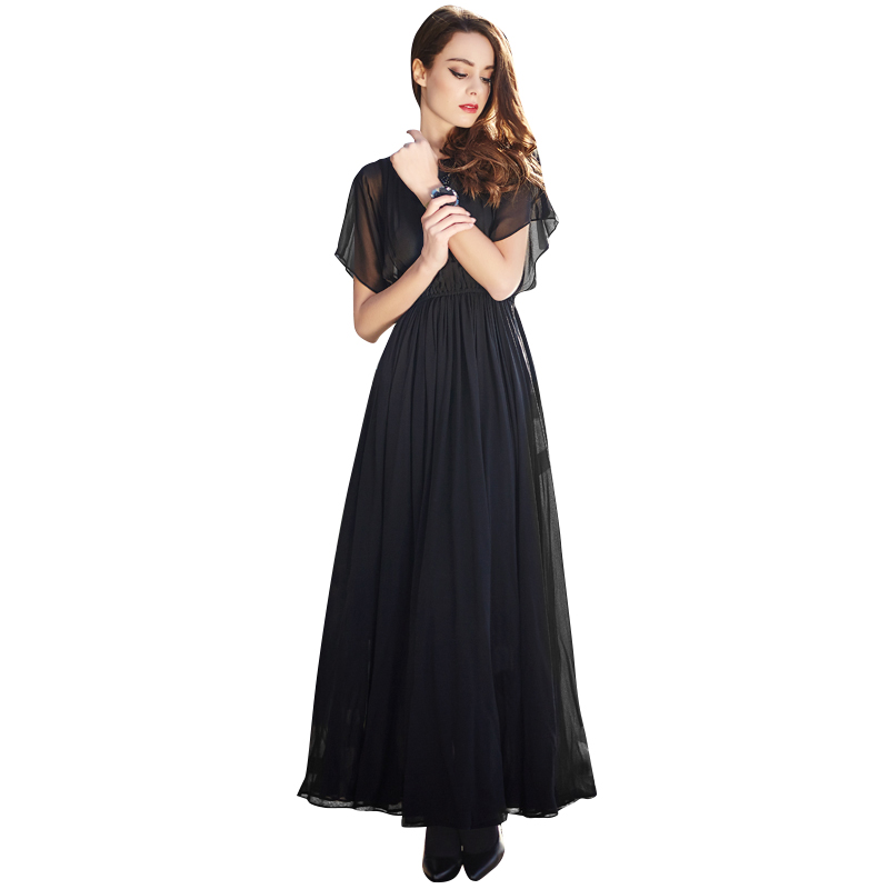 2016 New Plus Size Black Long Summer Dress See Through Batwing Sleeve Stretch Slim Fit Cinched