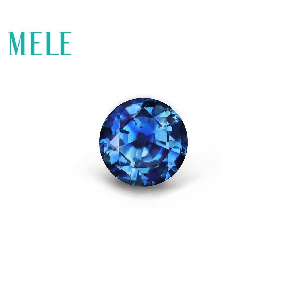 MELE saphir bleu naturel lâche pierre gemme pour la fabrication de bijoux, 5X5mm taille ronde 0.7ct fine bijoux DIYstones de haute qualité