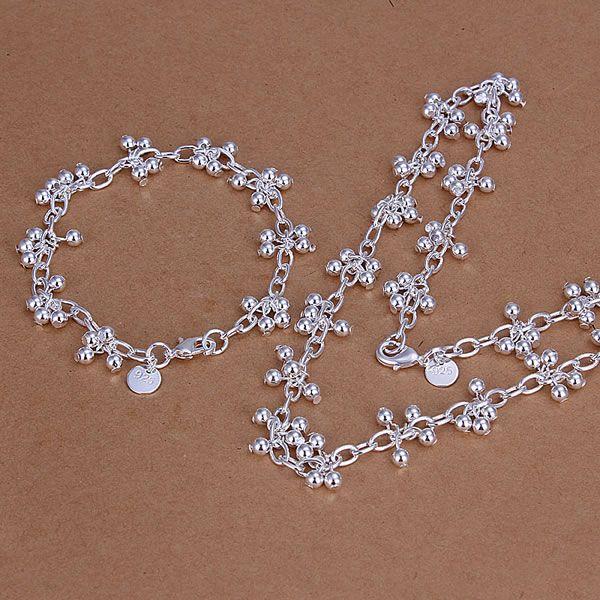 925 sterling solid silver fashion cœur Bracelet Boucles d/'oreilles Collier Bijoux Sets