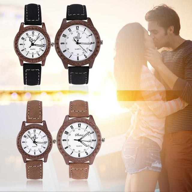 PU Leather New Vintage leisure imitation wood pair watches men's women's lovers