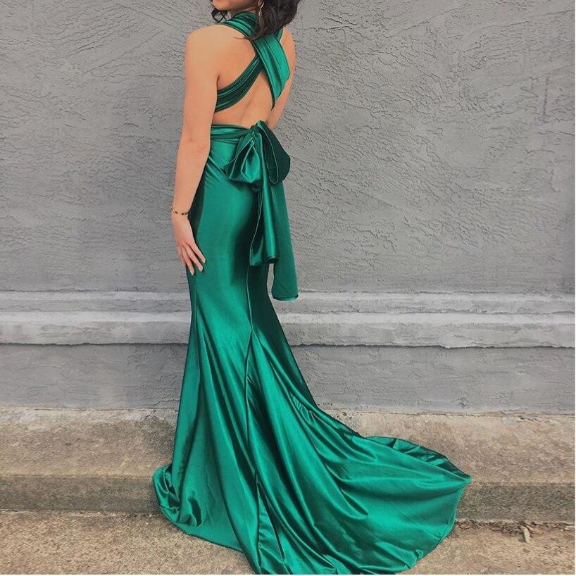 2018 Cross Halter Strapless Green Sexy Floor Length Sexy Backless Shiny Satin Dress Party Dress Bodycon