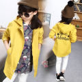 Children's Outwear Clothes Autumn Spring Girls' Trench Hooded Windbreak with Embroidery Pattern Outerwear Yellow 1199