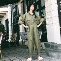 Комбинезоны Комбинезон femme свободные волна рукава широкие брюки ремень Туника vestido одноцветное зеленый harajuku Повседневная sunfree уличная AA3800 Y