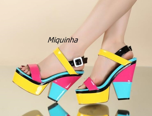 468713055a3 New Arrival Color Matched PU Leather Chunky Heel Sandals Sweet Buckle Style  Open Toe Platform Shoes Comfy Dress Sandals
