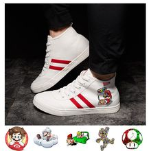 Super Mario Printing Illustration High Heel Breathable Canvas Uppers Sneakers College Customized Fashion High-Tops A193161