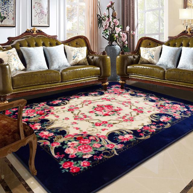 Honlaker Rose Carving Carpet Luxury Living Room Decorative Carpets - Dining table carpet mat