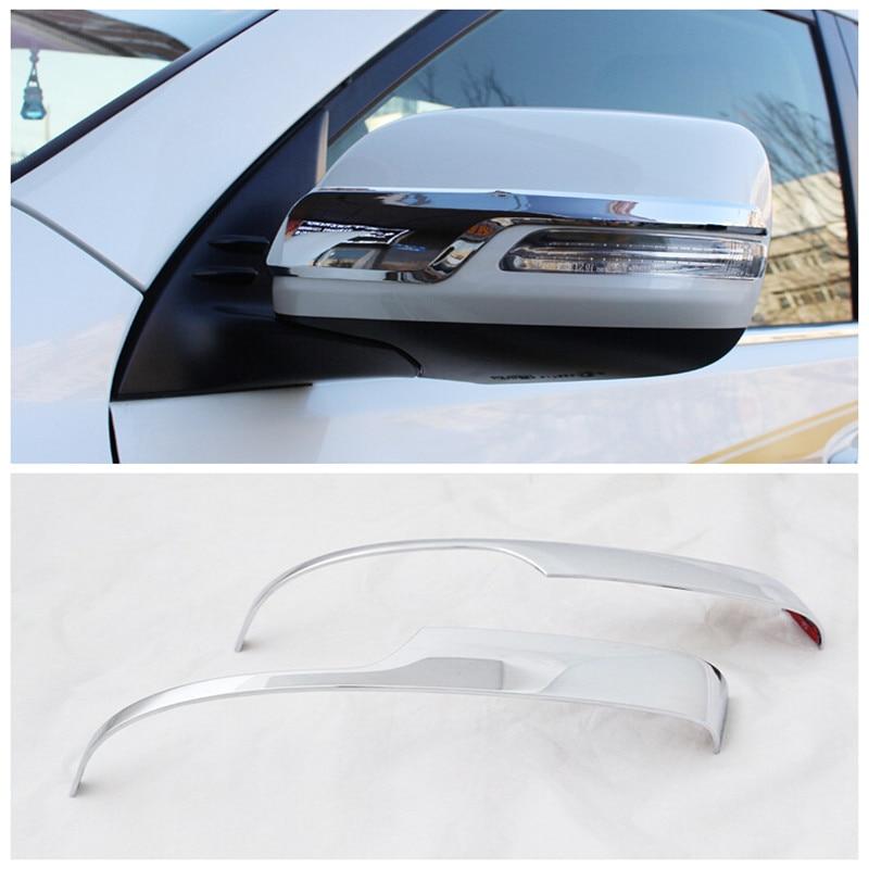 2PCS ABS Rearview Side Mirror Strip Cover Trim For Toyota Prado FJ150 2010-2018