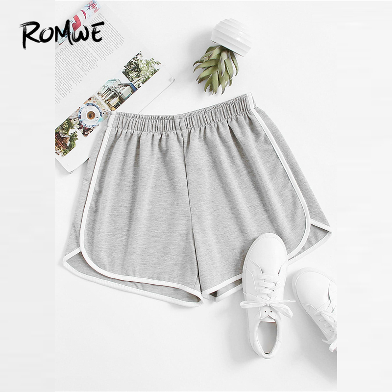 ROMWE Ringer Slub   Shorts   Grey Women Casual Fitness   Shorts   For Workout 2019 Fashion Mid Waist Summer Elastic Waist   Shorts