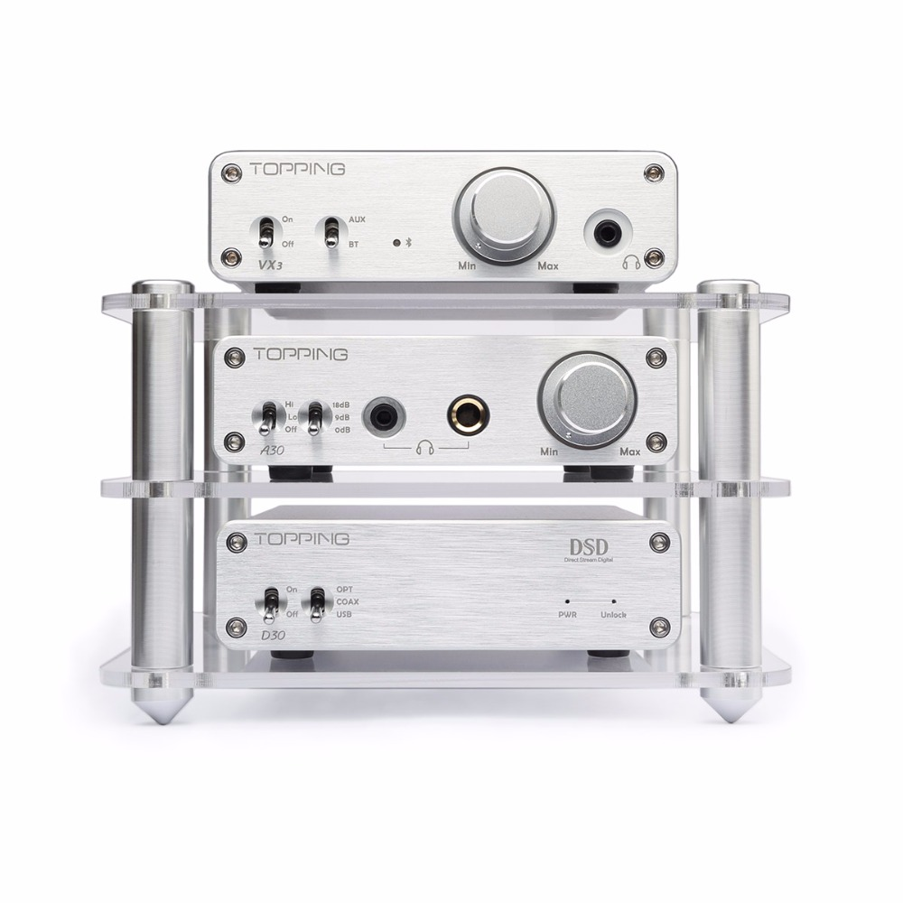 Topping D30 DSD USB DAC Decoder +A30 Headphone Amplifier + VX3 Bluetooth Power Amplifier Set Support USB DAC Home Amp Hifi Set new topping nx4 dsd xmos xu208 chip dac es9038q2m chip portable usb dac dsd decoder amplifier headphone amp amplifier
