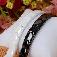 Hottime Black White Ceramic Magnetic Therapy Bracelet Bio Elements Energy Germanium Bracelets Bangles Health Fashion Jewelry