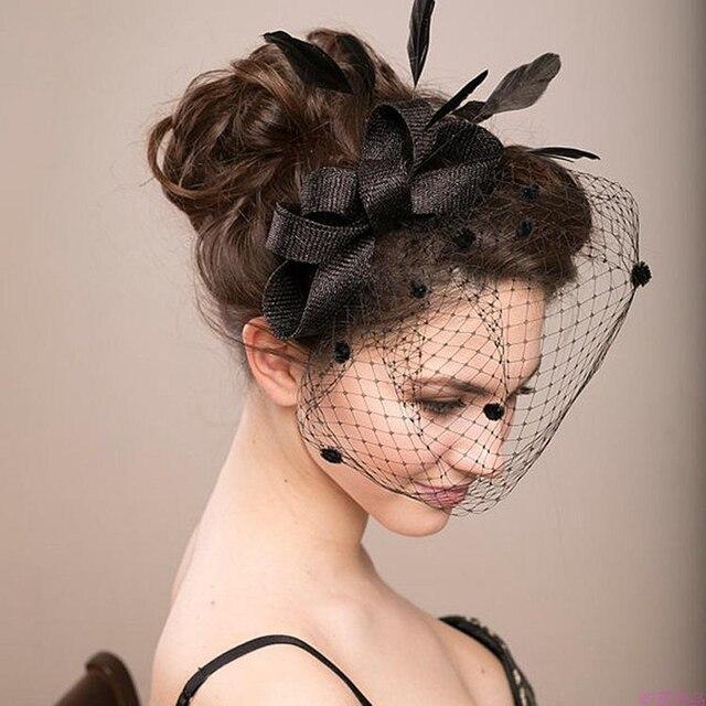 95f6f852651a5 Fashion Women Large Headband Clip Net Veil Hat Fascinator Feather Headwear Mesh  Wedding Headband