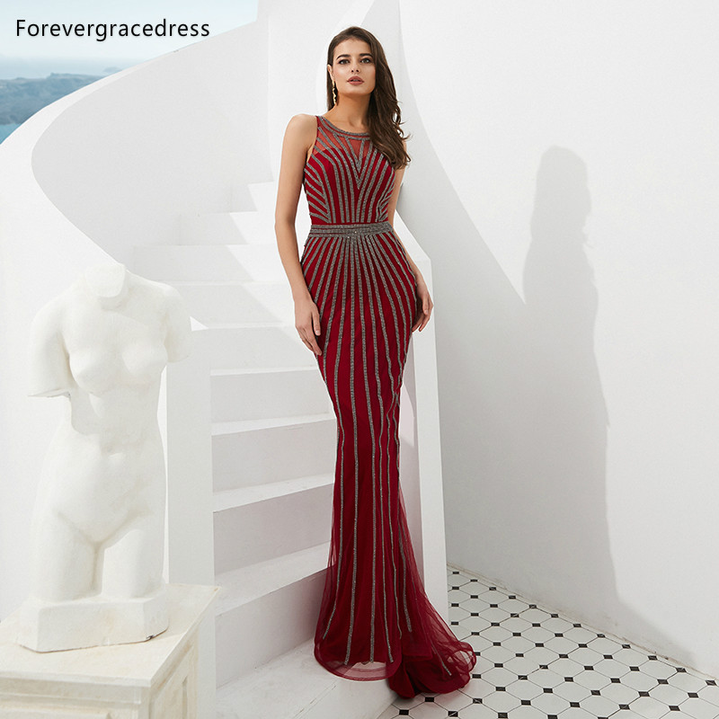 Forevergracedress Actual Images Luxury Red Color   Prom     Dresses   2019 Sheer Neck Beaded Formal Party Gowns Plus Size Custom Made