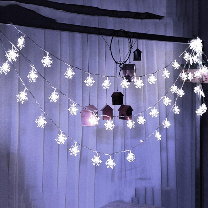 Romantic Decorative Ice Snow Outdoor Garland String Lights Christmas Holiday Wedding Party 5M 28LED Snowflake Lighting