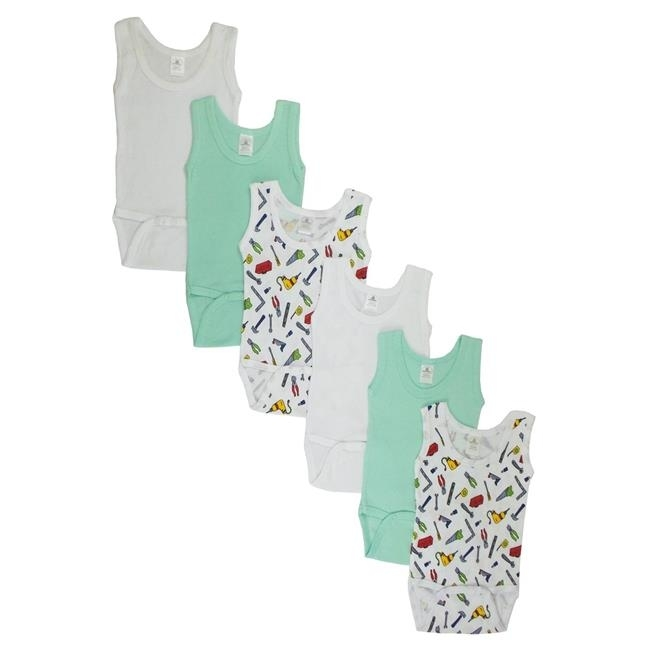 Bambini CS-109NB-Tools-109NB-Tools Boys Tank Top with Printed White & Blue - Newborn майка print bar винсент и джулс