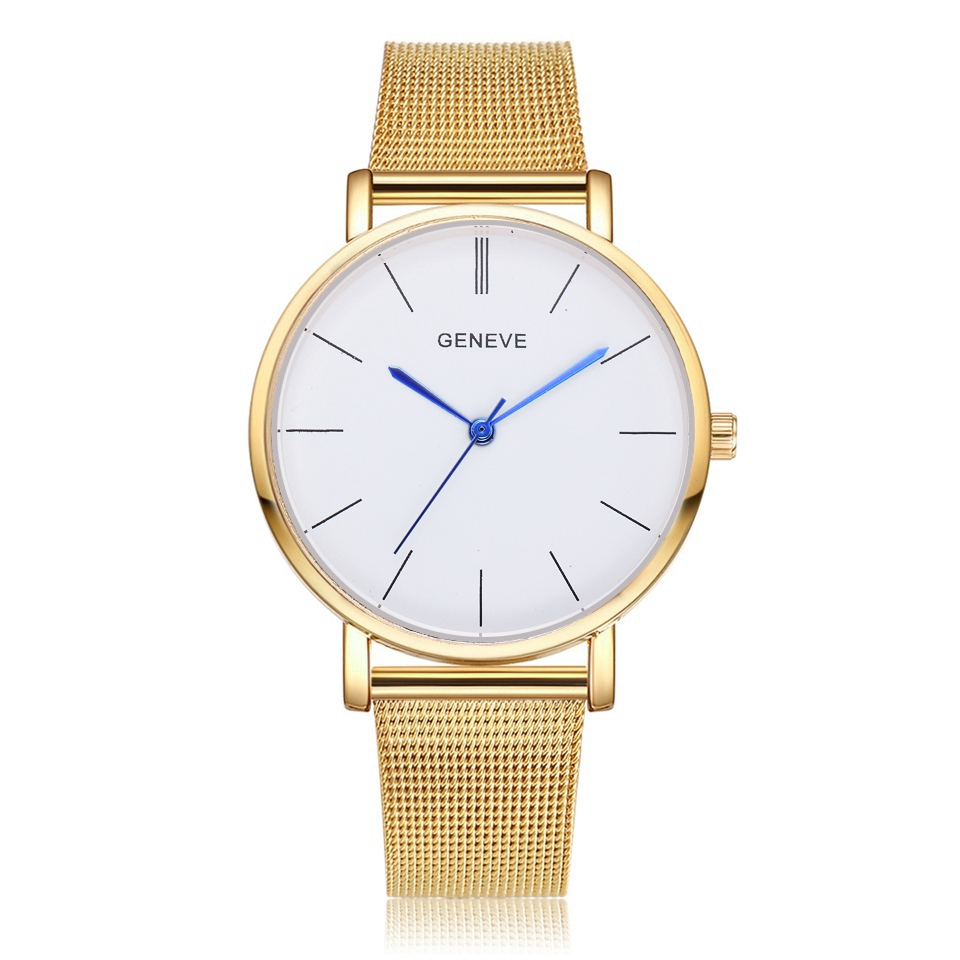 Fashion Watch Geneva Women Watches Women's Dress Classical Stainless Steel Band Quartz Wrist Watches Reloj Mujer Mesh Hour 2018 newest 8colors claudia special fashion women stainless steel leather band quartz analog wrist watches dropship reloj mujer